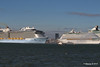 ANTHEM OF THE SEAS Maiden Voyage Passing EXPLORER OF THE SEAS Southampton PDM 22-04-2015 17-33-18