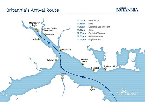 BRITANNIA's Arrival Route from P&O
