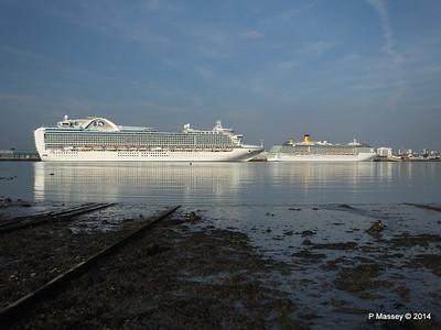RUBY PRINCESS Passes COSTA MEDITERRANEA Southampton PDM 08-09-2014 17-40-059