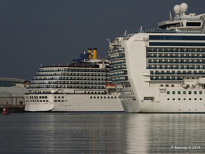 RUBY PRINCESS Passes COSTA MEDITERRANEA Southampton PDM 08-09-2014 17-42-047