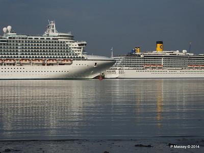 RUBY PRINCESS Passes COSTA MEDITERRANEA Southampton PDM 08-09-2014 17-41-003