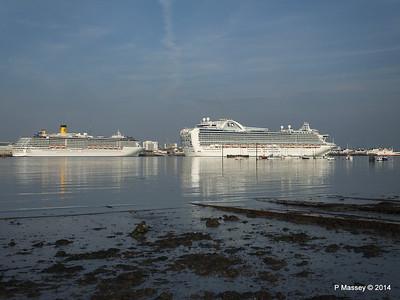 RUBY PRINCESS Passes COSTA MEDITERRANEA Southampton PDM 08-09-2014 17-43-42