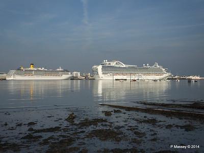 RUBY PRINCESS Passes COSTA MEDITERRANEA Southampton PDM 08-09-2014 17-43-044