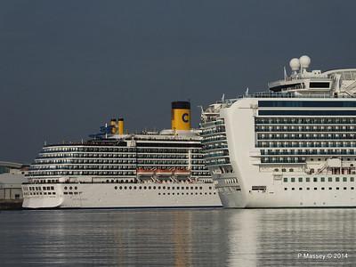 RUBY PRINCESS Passes COSTA MEDITERRANEA Southampton PDM 08-09-2014 17-42-055