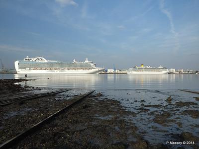 RUBY PRINCESS Passes COSTA MEDITERRANEA Southampton PDM 08-09-2014 17-40-32