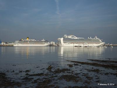 RUBY PRINCESS Passes COSTA MEDITERRANEA Southampton PDM 08-09-2014 17-43-037