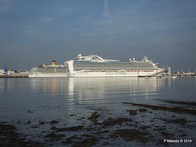 RUBY PRINCESS Passes COSTA MEDITERRANEA Southampton PDM 08-09-2014 17-42-060