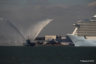 PHENIX Fire Tug ANTHEM OF THE SEAS Maiden Voyage Southampton PDM 22-04-2015 17-20-08