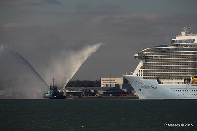 PHENIX Fire Tug ANTHEM OF THE SEAS Maiden Voyage Southampton PDM 22-04-2015 17-19-48