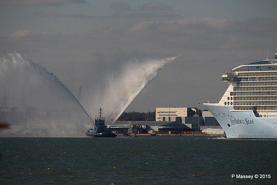 PHENIX Fire Tug ANTHEM OF THE SEAS Maiden Voyage Southampton PDM 22-04-2015 17-19-59