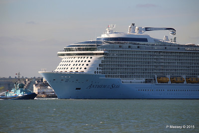 PHENIX Fire Tug ANTHEM OF THE SEAS Maiden Voyage Departing Southampton PDM 22-04-2015 17-24-54