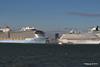 ANTHEM OF THE SEAS Maiden Voyage Passing EXPLORER OF THE SEAS Southampton PDM 22-04-2015 17-33-18