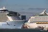 ANTHEM OF THE SEAS Maiden Voyage Passing EXPLORER OF THE SEAS Southampton PDM 22-04-2015 17-33-46
