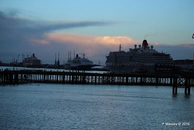 QUEEN VICTORIA SAGA SAPPHIRE QUEEN ELIZABETH over Royal Pier Southampton PDM 10-01-2016 08-31-12