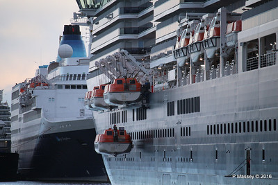 QUEEN VICTORIA Lifeboats Lowering SAGA SAPPHIRE Southampton PDM 10-01-2016 08-53-49