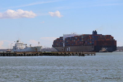 APL CHANGI Passing GREEN GUATEMALA over Royal Pier Southampton PDM 12-04-2016 15-37-33