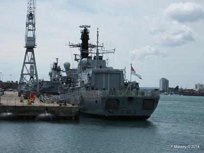 F83 HMS ST ALBANS ahead R06 HMS ILLUSTRIOUS Portsmouth PDM 30-06-2014 12-17-15