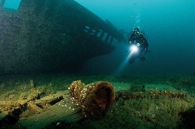 Diver discovers a capstan in the debris surrounding Arabia.