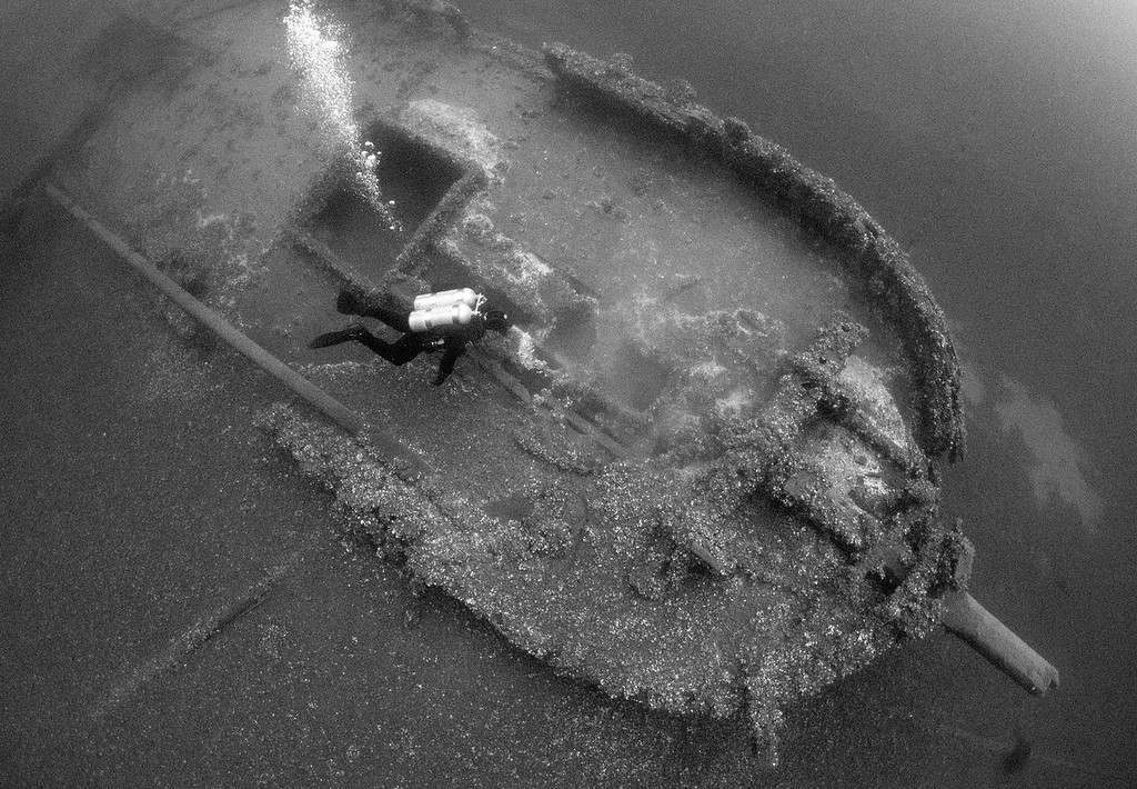 A birdseye view of the bow of the Tiller Wreck
