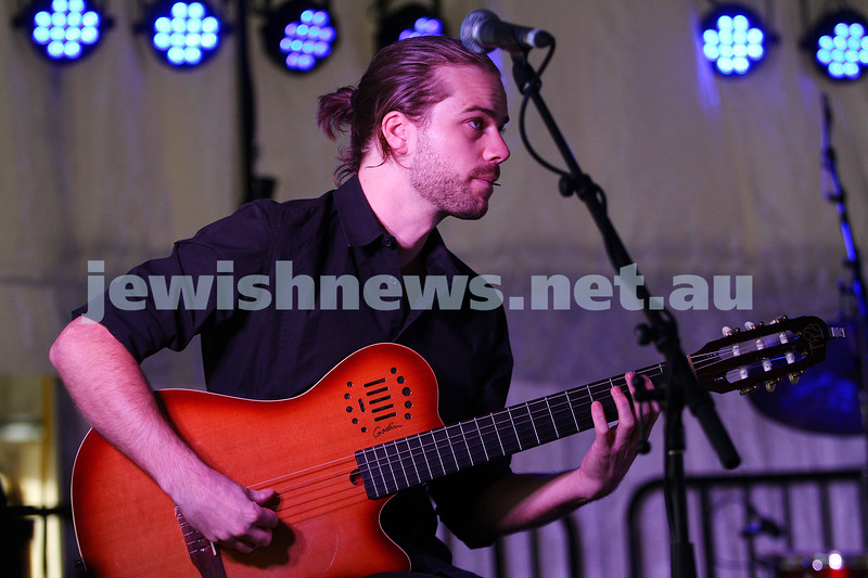 6-9-15. Shir Madness. Melbourne  Jewish Music Festival. Guitarist for Rita Satch. Photo: Peter Haskin