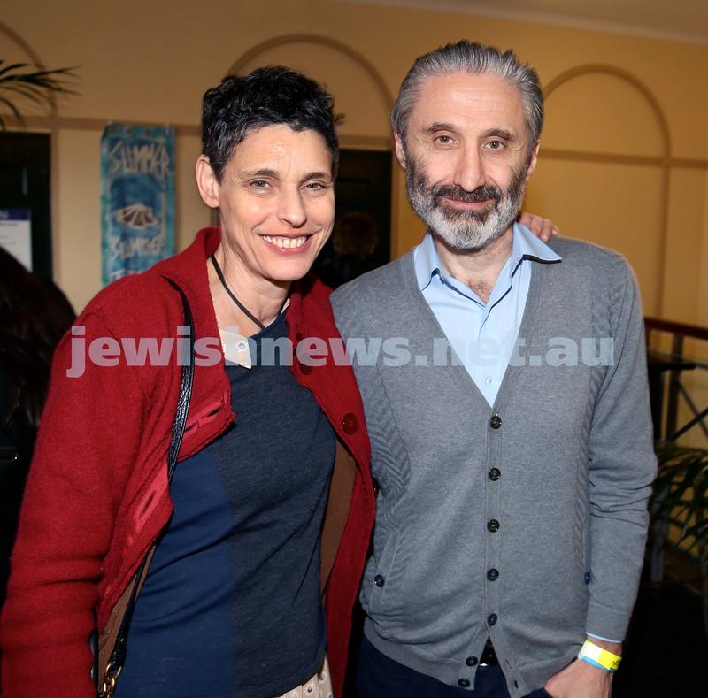 Shir Madness Jewish Music Festival at Bondi Pavilion. Deborah Conway (left), Willy Zygier. Pic Noel Kessel.