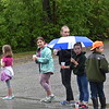 GREG SUKIENNIK - MANCHESTER JOURNAL<br /> (L-R) Hadley Thompson, Bri Martelle, Mel Schinski, Elizabeth Sykes (with umbrella) and Talen Chalmers, all of Wells, staffed a water station on Richville Road during the Shires of Vermont Marathon on May 20, 2018.