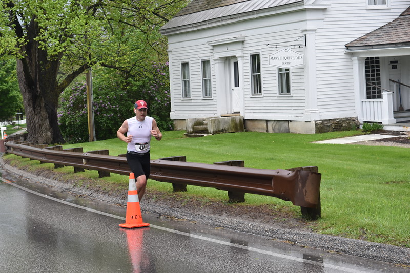 GREG SUKIENNIK - MANCHESTER JOURNAL<br /> A runner heads up Richville Road in Manchester during the Shires of Vermont Marathon on May 20, 2018.