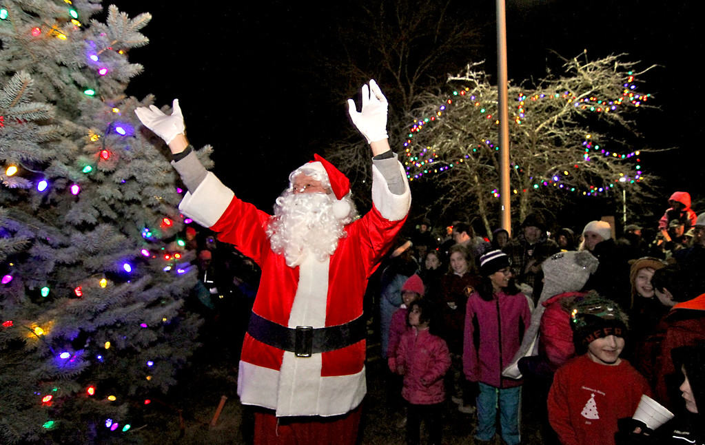. Santa counts down as the lights are turned on for the Shirley Tree Lighting ceremony at Whiteley Park. Nashoba Valley Voice Photo/David H. Brow