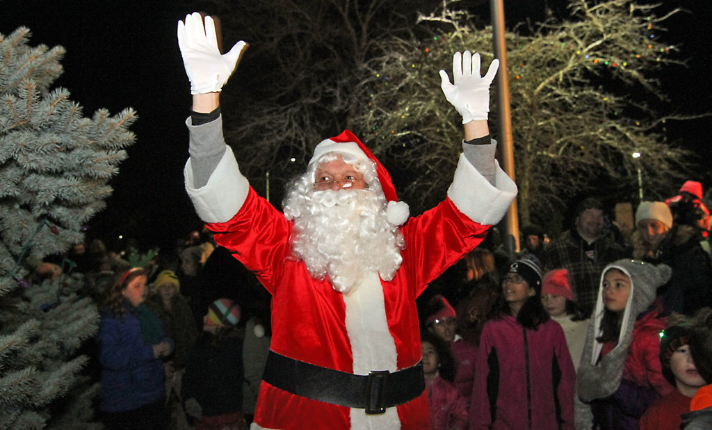 . Santa arrives at the Shirley Tree Lighting ceremony at Whiteley Park. Nashoba Valley Voice Photo/David H. Brow