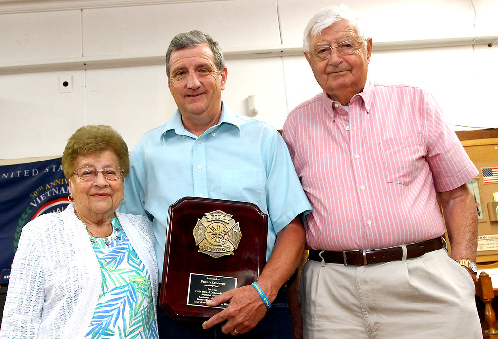 . Shirley Chief Levesque with his mother Doris and father Alphee. Nashoba Valley Voice Photo by David H. Brow.
