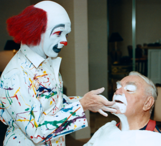 Old friend and multiple award winning makeup artist, Keith Crary, puts clown makeup on Ernest Borgnine. Keith started out as a Ringling bros. clown.