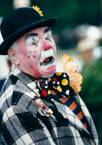 Mr. Borgnine at the Milwaukee Circus Parade.  He loved being a clown and many times served as the parades master of ceremony.