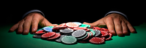 Poker chips, large sum concept
