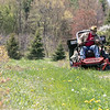 Mike Meehan the farm manager at Sholan Farms in Leominster cuts the grass around the blueberry bushes on Tuesday May 11, 2021. They will be ready to pick by early July. SENTINEL & ENTERPRISE/JOHN LOVE