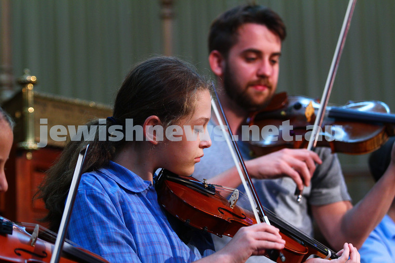 24-2-15. Members of the Sholem Aleichem College orchestra rehearsing with members of the Australian Chamber Orchestra ahead of their perfornace together at the Melbourne Hebrew Congregation ( Toorak Shul ). Photo: Peter Haskin