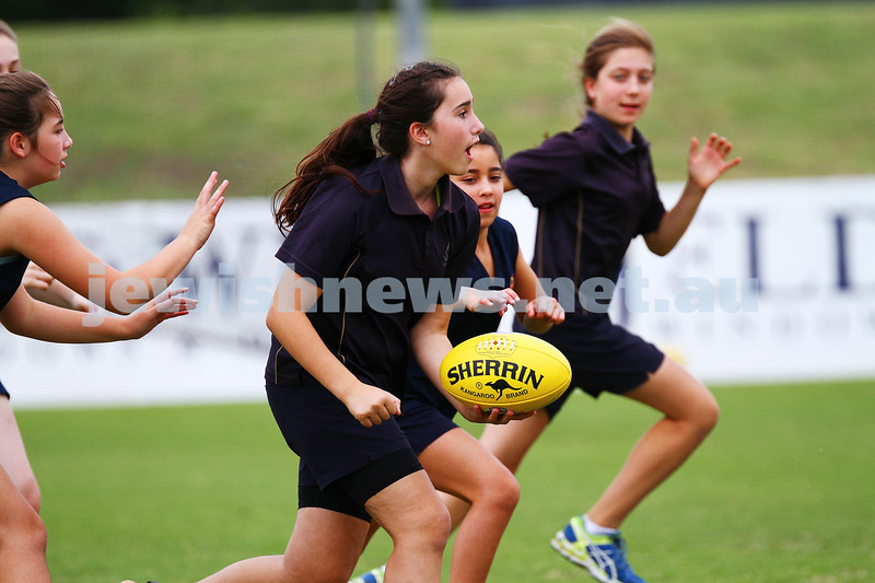 25-11-15. Boys and girls inter school football tournament at Moorabbin Oval. The KIng David School, Yeshivah College, Sholem Aleichem College. Photo: Peter Haskin