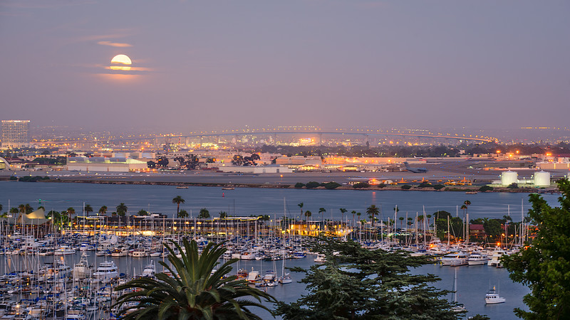 Blue Moon at Sunset over Coronado Bridge