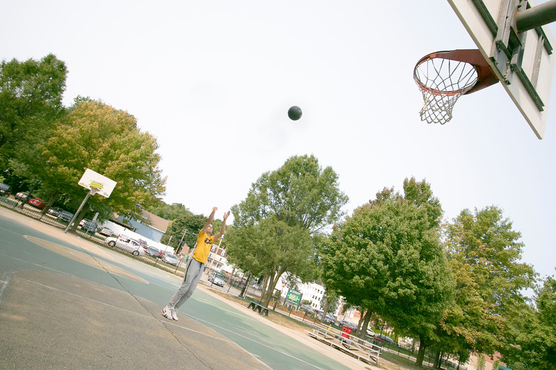 "Jaden Willis was practicing his shoot on the basketball court at Joanne ""Mama"" Fitz Memorial Playground on North Street Tuesday afternoon. He is a sophomore transfer student from Pittsburgh PA who will be playing for Fitchburg State University this 2020-2021 season. He will be a guard for the Falcons. SENTINEL & ENTERPRISE/JOHN LOVE"