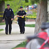 """Boulder police officers patrol the Boulder Creek area in downtown after a shooting in Central Park. A man reportedly fired shots then pointed his weapon at Boulder police who shot him. <br /> More photos:  <a href=""""http://www.dailycamera.com"""">http://www.dailycamera.com</a><br /> Autumn Parry/Staff Photographer<br /> May 22, 2016"""