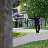 """An officer patrols the Boulder Creek area in downtown after a shooting in Central Park. A man reportedly fired shots then pointed his weapon at Boulder police who shot him. <br /> More photos:  <a href=""""http://www.dailycamera.com"""">http://www.dailycamera.com</a><br /> Autumn Parry/Staff Photographer<br /> May 22, 2016"""