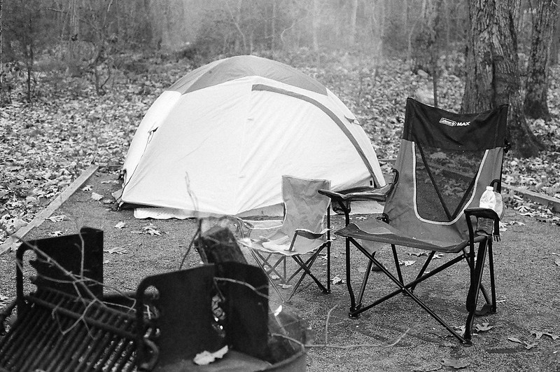 Camp at Trout Pond Recreation Area. Ilford Delta 400, 2013.