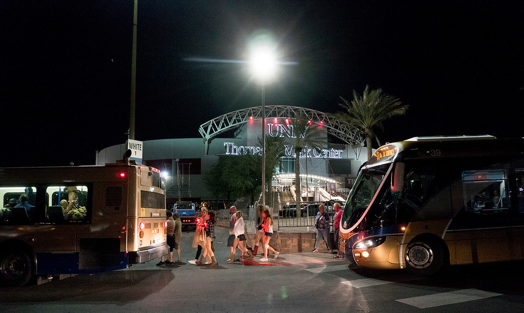 . People load into buses destined to different Strip Casinos following a mass shooting at the Route 91 music festival along the Las Vegas Strip, Monday, Oct. 2, 2017. UNLV\'s Thomas & Mack Center was opened as a place of refuge. (Yasmina Chavez/Las Vegas Sun via AP)