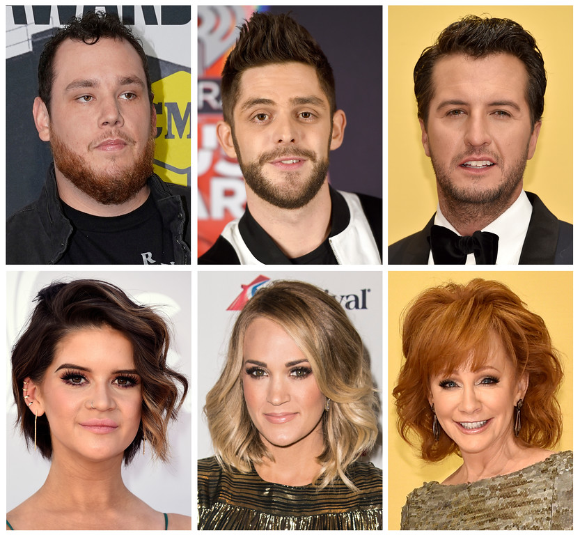 . This combination photo shows country performers, top row from left, Luke Combs, Thomas Rhett, Luke Bryan, and from bottom left, Maren Morris, Carrie Underwood and Reba McEntire who took to social media to express their sadness after the mass shooting in Las Vegas at the Route 91 Harvest Festival on Sunday, Oct. 1, 2017. (AP Photo/File)