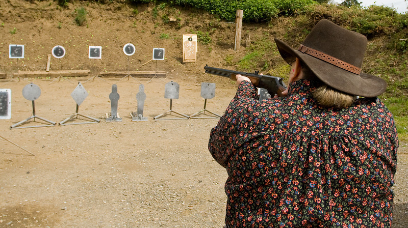 """Evergreen Rose working on the rifle targets."