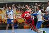 3. 10. 2015 - Handball - HLA, Handball Liga Austria, HC Fivers Margareten vs HC ece bulls Bruck  in Sporthalle Margareten, Vienna, Austria . Image shows Deni Gasperov (HC ece bulls Bruck), Tobias Wagner (HC Fivers WAT Margareten) .Foto: GEPA Pictures / Gerald Fischer