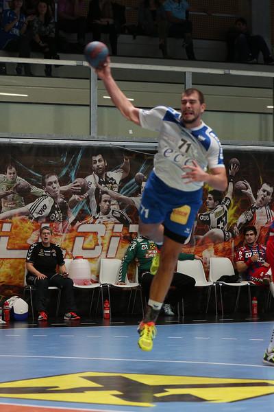 3. 10. 2015 - Handball - HLA, Handball Liga Austria, HC Fivers Margareten vs HC ece bulls Bruck  in Sporthalle Margareten, Vienna, Austria . Image shows Ivan Dimitrijevic (HC ece bulls Bruck) .Foto: GEPA Pictures / Gerald Fischer
