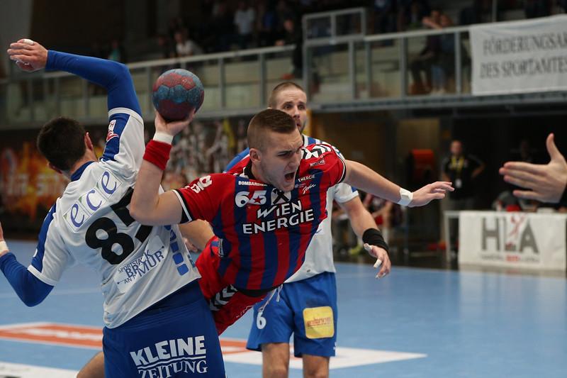 3. 10. 2015 - Handball - HLA, Handball Liga Austria, HC Fivers Margareten vs HC ece bulls Bruck  in Sporthalle Margareten, Vienna, Austria . Image shows .Foto: GEPA Pictures / Gerald Fischer