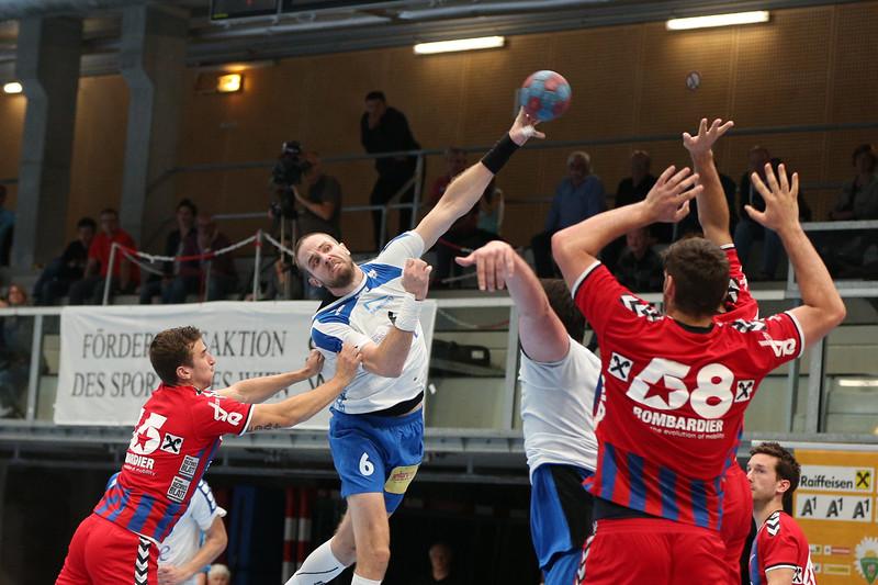 3. 10. 2015 - Handball - HLA, Handball Liga Austria, HC Fivers Margareten vs HC ece bulls Bruck  in Sporthalle Margareten, Vienna, Austria . Image shows Martin Breg (HC ece bulls Bruck) .Foto: GEPA Pictures / Gerald Fischer
