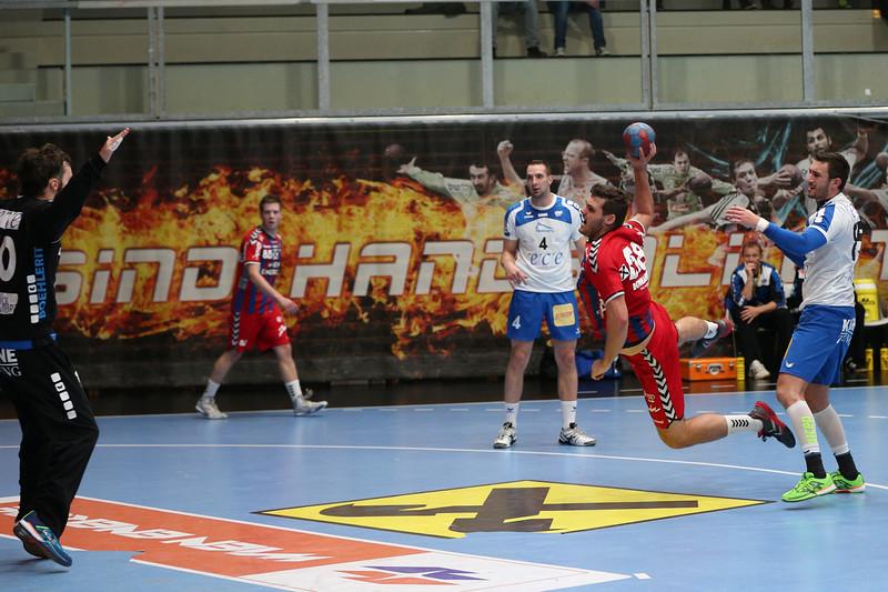 3. 10. 2015 - Handball - HLA, Handball Liga Austria, HC Fivers Margareten vs HC ece bulls Bruck  in Sporthalle Margareten, Vienna, Austria . Image shows Tobias Wagner (HC Fivers WAT Margareten) .Foto: GEPA Pictures / Gerald Fischer