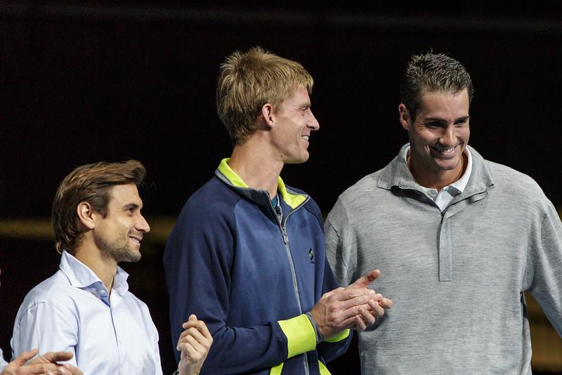 VIENNA,AUSTRIA,19.Oct.2015 - TENNIS - ATP Tour, Erste Bank Open 500. Image shows David Ferrer (ESP), Kevin Anderson (AUS) and John Isner (USA). Foto: GEPA Pictures / Gerald Fischer